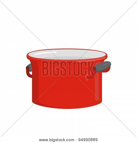 Red pot. Tableware for cooking food. Kitchenware for cooking soup. Vector illustration