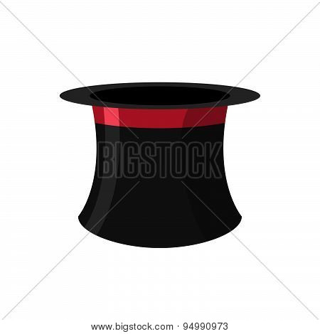 Top hat magician on a white background. Black Hat Topper with Red Ribbon. Antique headdress for men.