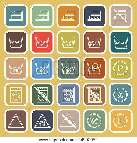 Laundry Line Flat Icons On Yellow Background