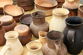 ecological clay pottery ceramics sold in market poster