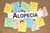 Alopecia word on cork bulletin board health concept poster