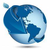 Abstract illustration blue round arrow around globe poster