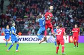 WARSAW POLAND - MAY 27 2015: Yevhen Seleznyov of FC Dnipro (L) fights for a ball with Stephane Mbia of FC Sevilla during their UEFA Europa League Final game at Warsaw National Stadium poster
