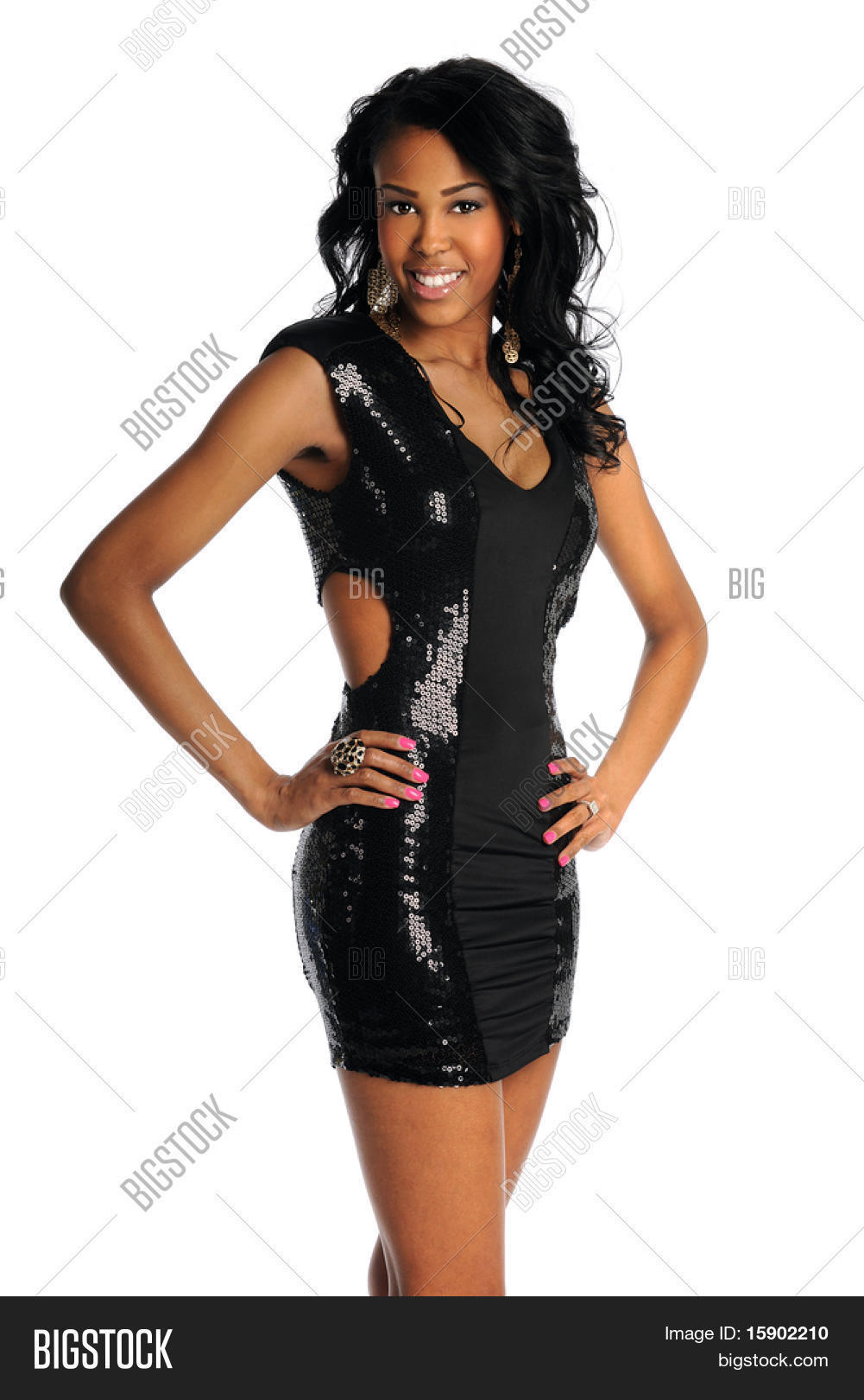 a93c6b079907f Portrait of beautiful African American woman in black dress isolated over  white background. Create a lightbox