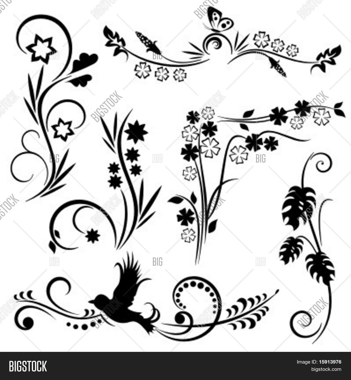 Set 6 Japanese Floral Designs Vector &