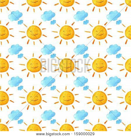 Weather watercolor pattern. Funny happy smiling suns and clouds. Bright beautiful cartoon pattern. Handpainted watercolor illustration. Isolated on white background