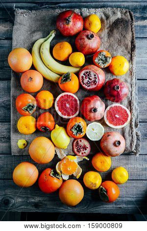 Fresh Fruits. Mixed Fruits Background. Healthy Eating, Dieting.
