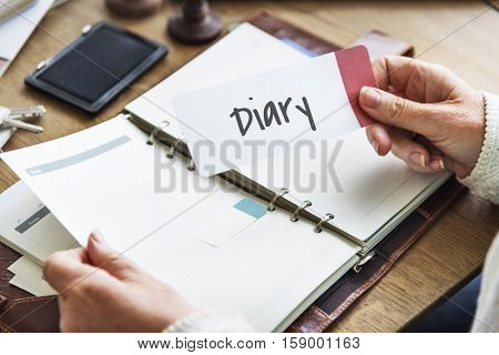 Diary Daily Record Journal Daybook Memoir Concept