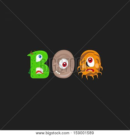 Print design for textile with Monsters letter and word Boo on the dark background. Vector illustration