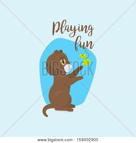 Funny cat with quote playing fun vector illustration