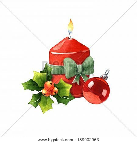 Candle with Christmas decoration. Watercolor illustration on a white background