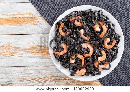 Delicious Cuttlefish Ink Pasta With Prawns, Top View
