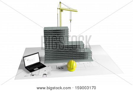 one model of a modern house, a computer with a cad software and some rolled construction projects, concept of house planning, 3d render