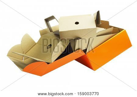 Discarded Packaging Cardboard Boxes on White Background on White Background