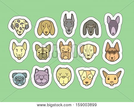 Head of dog and puppy set. Vector hand drawn dog breeds stickers