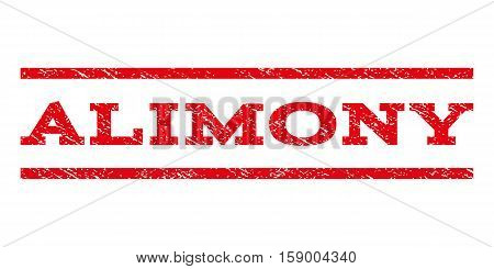 Alimony watermark stamp. Text caption between horizontal parallel lines with grunge design style. Rubber seal stamp with dust texture. Vector red color ink imprint on a white background.