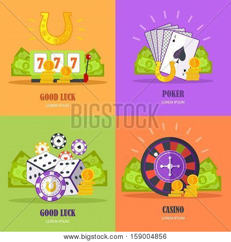 Set of gambling conceptual vector banners in flat style. Good luck, poker, casino concepts with assessors. Illustrations for gambling industry, sport lottery services, icons, web pages, logo design.