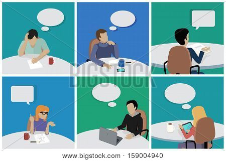 Set of people sitting and dreaming about smth. Man and woman at work. Different pose and gestures. Endless work seven days a week. Working moments. Part of series of work at the office. Vector