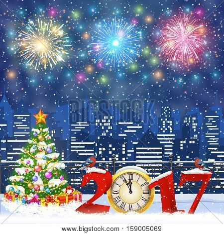 happy new year and merry Christmas Winter Cityscape with christmas tree, snow flakes. Christmas card with cityscape and fireworks, 2017 with clock