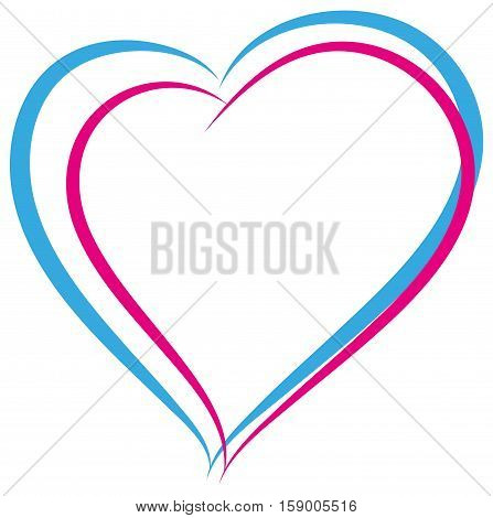 Blue and pink heart symbol of love. Heterosexual couple sign. Isolated on white vector illustration