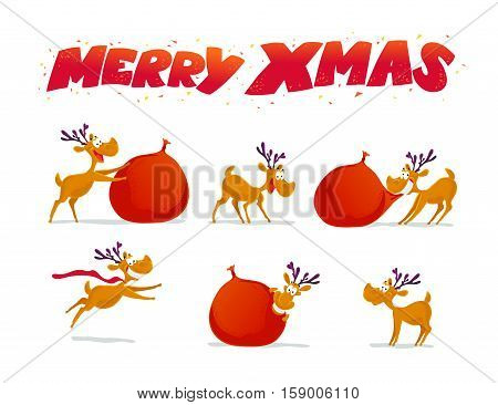 Vector flat funny reindeer character portrait collection isolated on white background. Cartoon style. Xmas decoration design elements. Merry Christmas and Happy New Year card design.