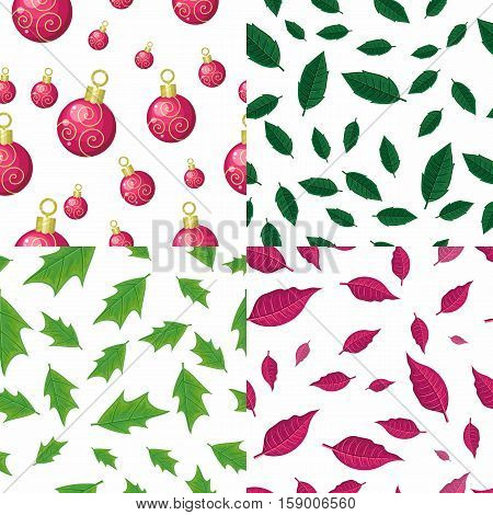 Set of seamless patterns with falling red, green leaves and christmas tree toys on white background. Flat style vector. For gift wrapping, greeting cards, invitations, printing materials design