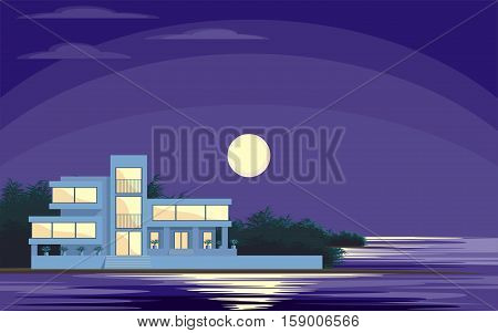 Abstract image of a large, beautiful country house. Luxury Villa on the seafront, surrounded by palm trees. Vector background.