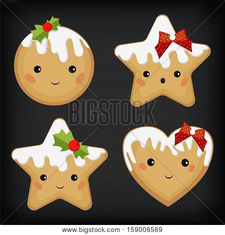 Gingerbread cookie funny cute star heart flat different emotion set icing Christmas holiday decor vector beautiful square top view closeup sign design illustration gray background