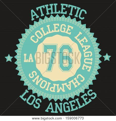 California College fashion design print for t-shirt. California Sport Typography. California sports Graphics, California T-shirt Printing Design, original wear, California sportswear apparel. Vector