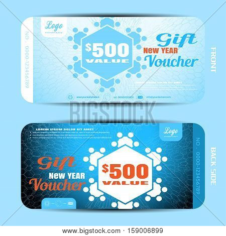Vector new year gift voucher with snowflakes on the blue gradient background with hexagon pattern.