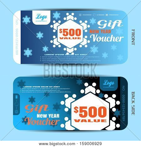 Vector gift new year voucher on the blue gradient background with snowflakes.