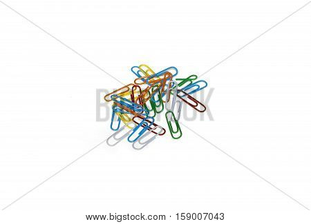 Set of colorful paperclips isolated on a white background.
