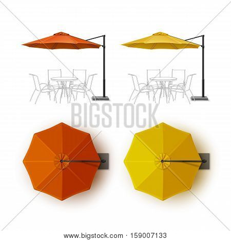 Vector Set of Orange Yellow Blank Patio Outdoor Beach Cafe Bar Pub Lounge Restaurant Round Umbrella Parasol for Branding Top Side View Mock up Close up Isolated on White Background.