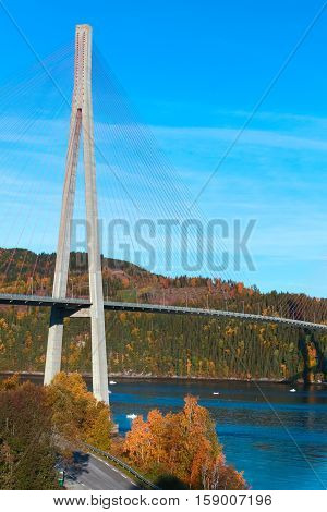 Modern Cable-stayed Bridge In Norway, Vertical