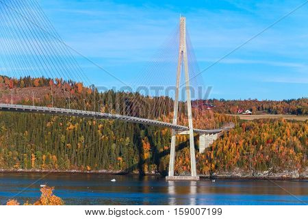 Cable-stayed bridge in Norway, photo of Skarnsund Bridge