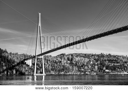 Black And White Photo Of Skarnsund Bridge