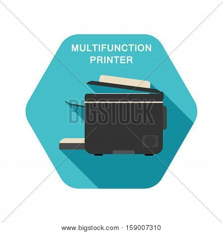 Vector hexagon icon of multifunction printer on the turquoise background with shadow.