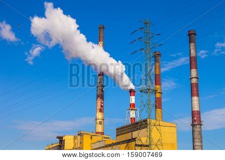 Industrial view - Thermal power station in Gdansk Poland.