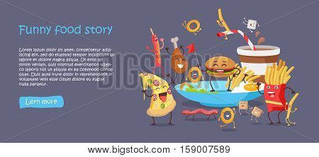 Funny food story conceptual banner web site design on blue background. Sausage pizza donut bacon chicken hamburger fries sugar potatoes eggs. Happy meal for children. Childish menu poster. Vector