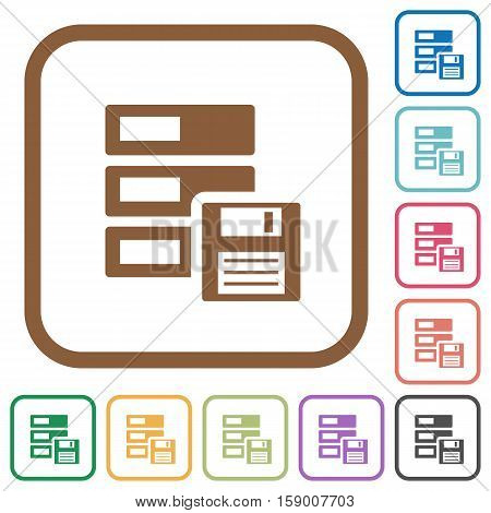 Backup simple icons in color rounded square frames on white background