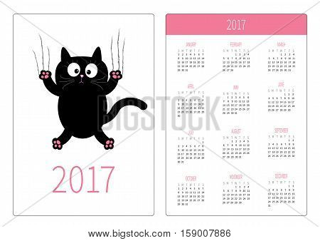 Pocket calendar 2017 year. Week starts Sunday. Flat design Vertical orientation Template. Cartoon black cat claw scratch glass. Cute character. White background. Isolated. Vector illustration