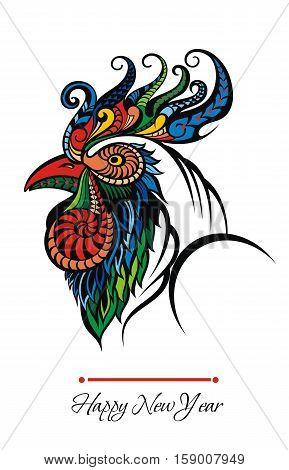 Bright Cockerel for your design. Birs symbol 2017