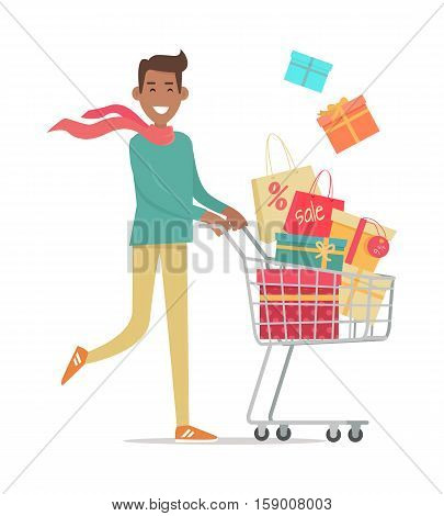 Buying gifts on sale. Smiling man carrying on shopping cart gift boxes with discount percents tags flat vector illustration isolated on white background. Holiday purchases in supermarket. For store ad