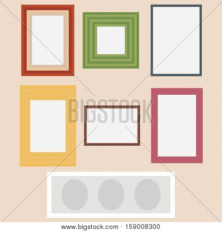 Photo frames set. Vintage Photo Picture Frame Template Icon Set Vector Illustration
