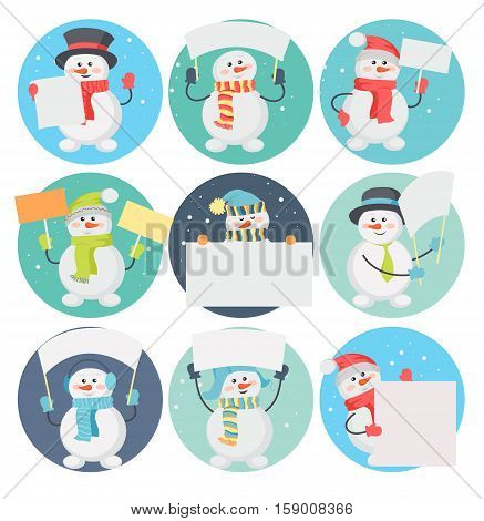 Set of snowman cartoons with blank message board. Funny snowman character in santa hat, scarf, cylinder, warm earmuffs holding cardboard placard flat vector illustration isolated on white background