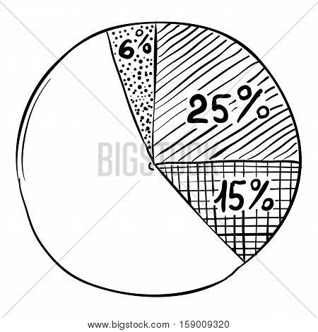 Round diagram infographics. Hand drawn illustration of round diagram vector infographics for web