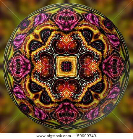 Abstract decorative multicolor sphere, ball - kaleidoscopic 3D pattern