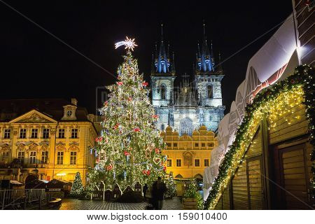 Prague Christmas market on Old Town Square. Centre of Prague is UNESCO protected. Christmas market in Prague at evening Czech republic