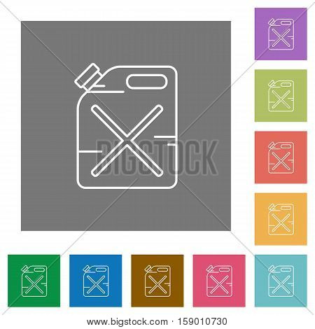 Gas can flat icons on simple color square background.