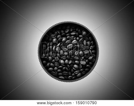 Coffee beans in a pot drink caffeine arabica wallpaper background style minimalism abstract